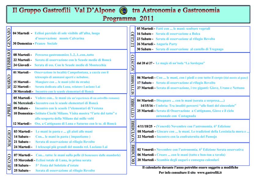 Calendario Attivita.Gruppo Gastrofili Val D Alpone Calendario Attivita 2011
