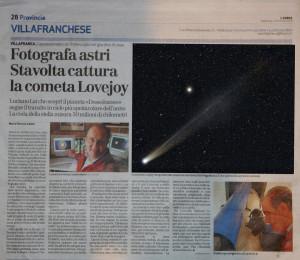 Articolo_Arena_CometaLovejoy_12-01-2014