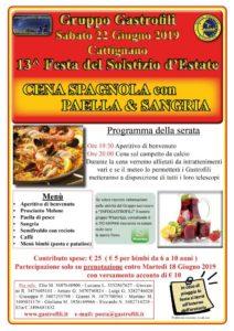 Sabato 22 giugno - Cattignano - 13^ Festa del Solstizio d'Estate con: aperitivo, antipasto, Paella e Sangria, dolce, acqua, vino e caffè.